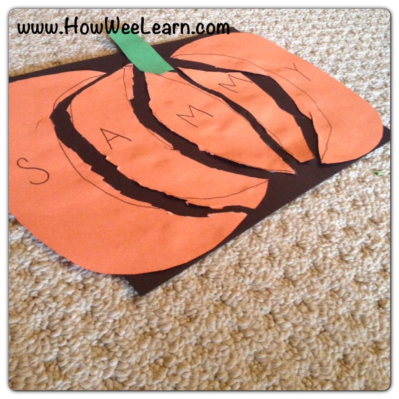 Halloween preschool crafts pumpkin name puzzles how for Pumpkin stems for crafts