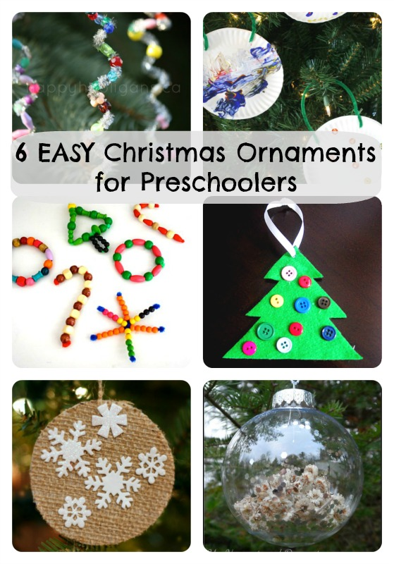 Here are 6 easy Christmas ornaments for preschoolers to make: