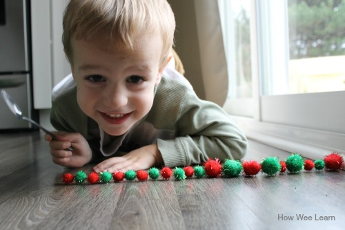Christmas sensory bin, how we learn about patterning