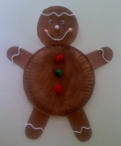 Paper plate Christmas crafts gingerbread man