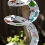 wind spinners made from spiralled paper plates