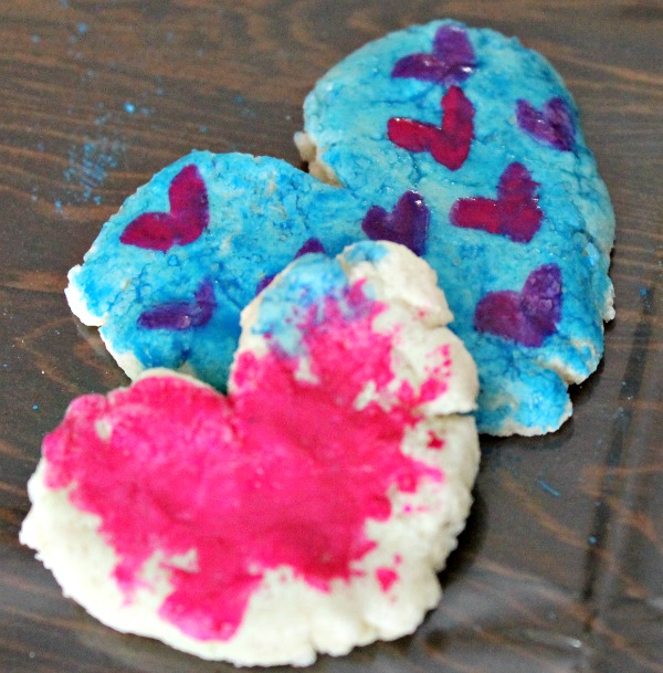 painted salt dough hearts