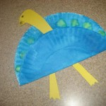 peascock made from a folded paper plate