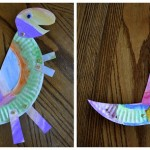 dinosaur made from cut paper plates