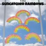 coffee filter rainbows for a preschool spring craft