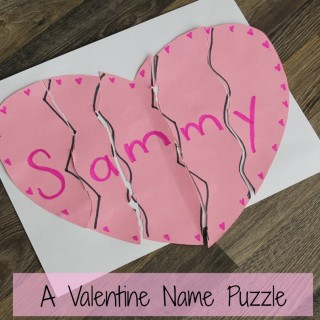 a hear name puzzle valentines day craft