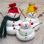 snowmen made with salt dough