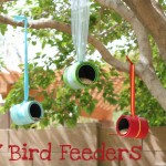 using paint cans as homemade bird feeders for kids