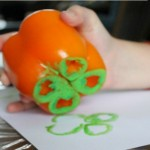 St Patricks Day Craft: Pepper Stamping!