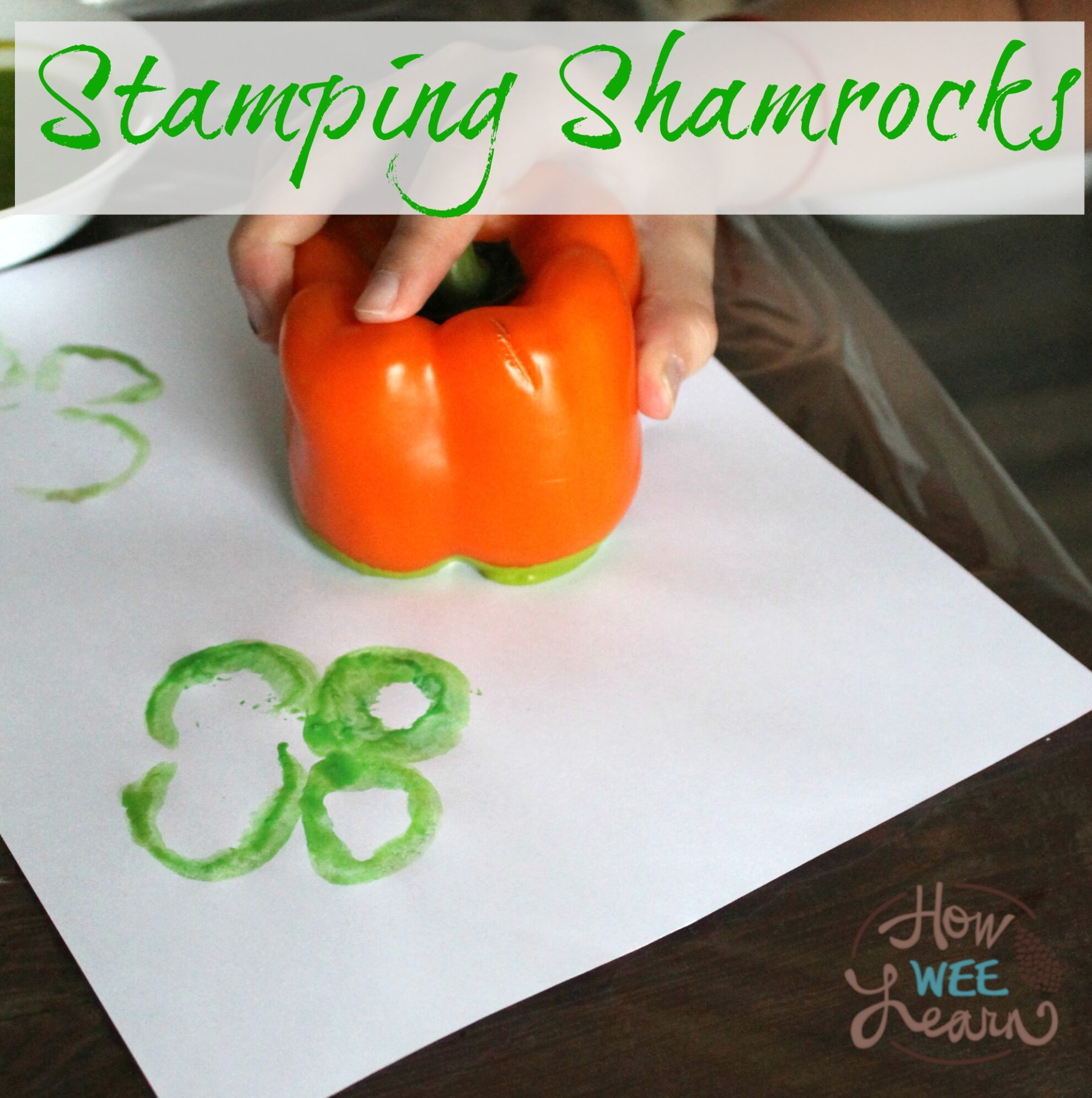 This is a great craft for St Patrick's Day! Making Shamrock stamps with preschoolers out of peppers