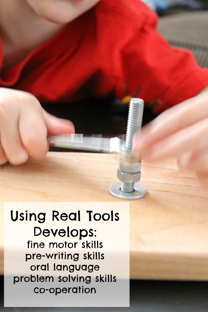 woodworking with kids using wrenches how we learn
