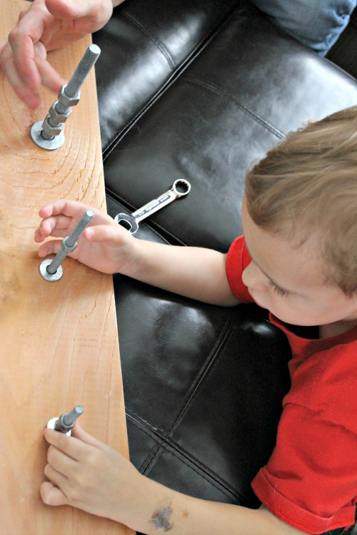 how we learn using nuts, bolts, and wrenches with kids