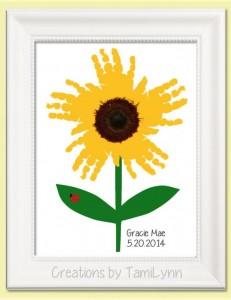 handprint art sunflower
