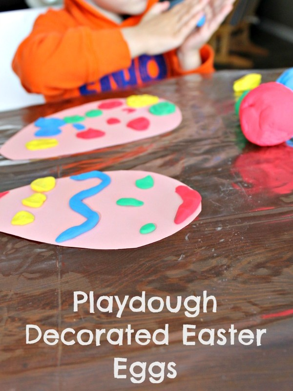 how we learn playdough decorated easter eggs