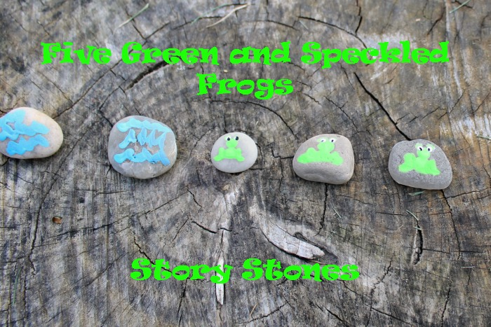 five green and speckled frogs story stones