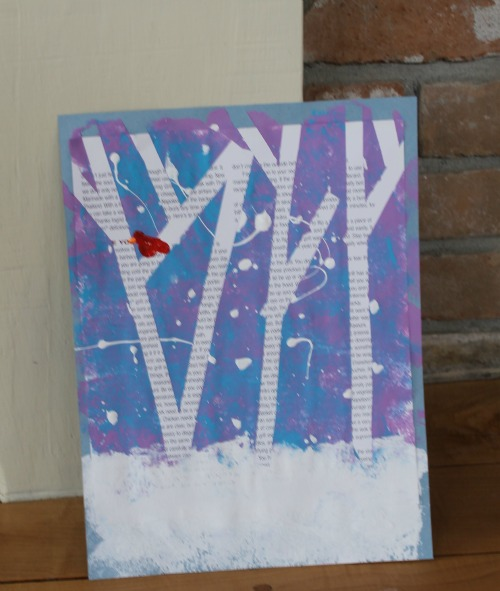 painting a winter tree with kids