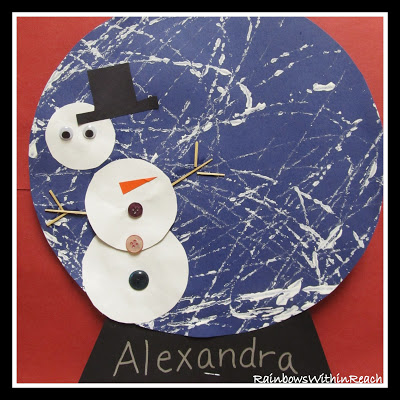 Winter art for 2 year olds how wee learn for Preschool snow globe craft