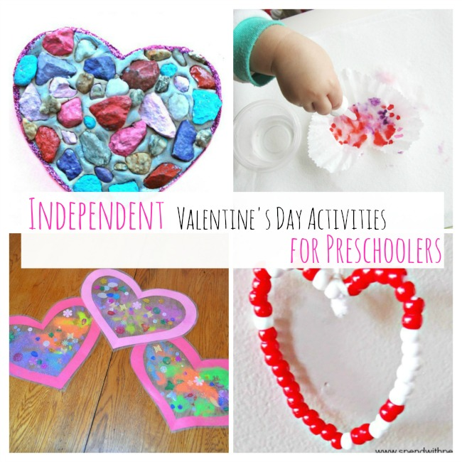 Valentine's day actvities for preschoolers that are completely independent! Perfect heart crafts for toddlers and preschoolers