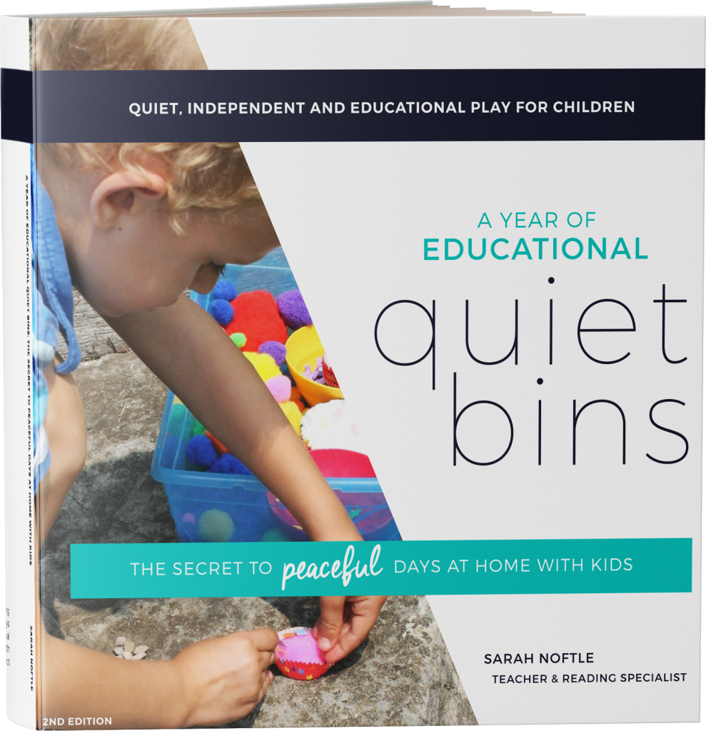 An entire year of educational Quiet Bin ideas for preschoolers and toddlers