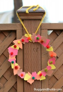 Fall crafts for kids - torn paper wreaths
