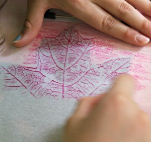 Fall crafts for preschoolers - leaf rubbings