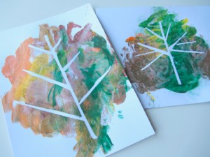 Fall crafts for preschoolers tape-relief-painting-with-leaves-