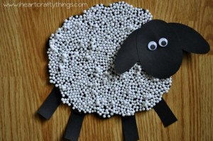 Nursery Rhymes Crafts - Textured Sheep