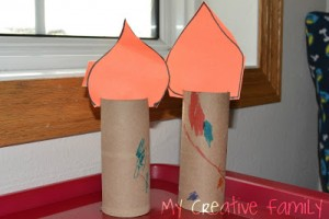 Nursery rhyme crafts for toddlers - cardboard roll candlesticks