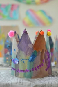 Nursery rhymes crafts - paper bag crowns