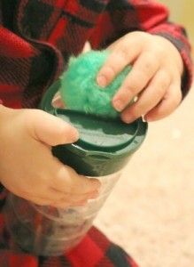 Quiet activities for two year olds - pompom push