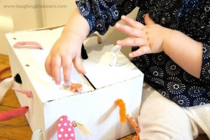 Quiet activities for two year olds - tugging box