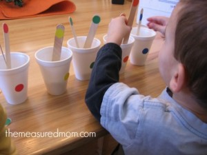 Quiet activitiies for toddlers - color sorting sticks