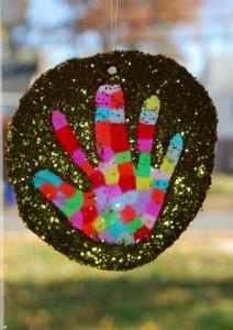 Gifts kids can make - hand print sun catcher
