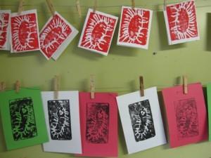 Gifts kids can make - styrofoam printed cards