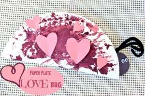 Paper plate valentine crafts - paper plate love bug