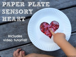 Paper plate valentine crafts - sensory heart craft