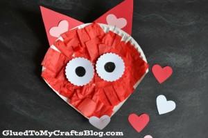 Paper plate valentine crafts - valentine fox