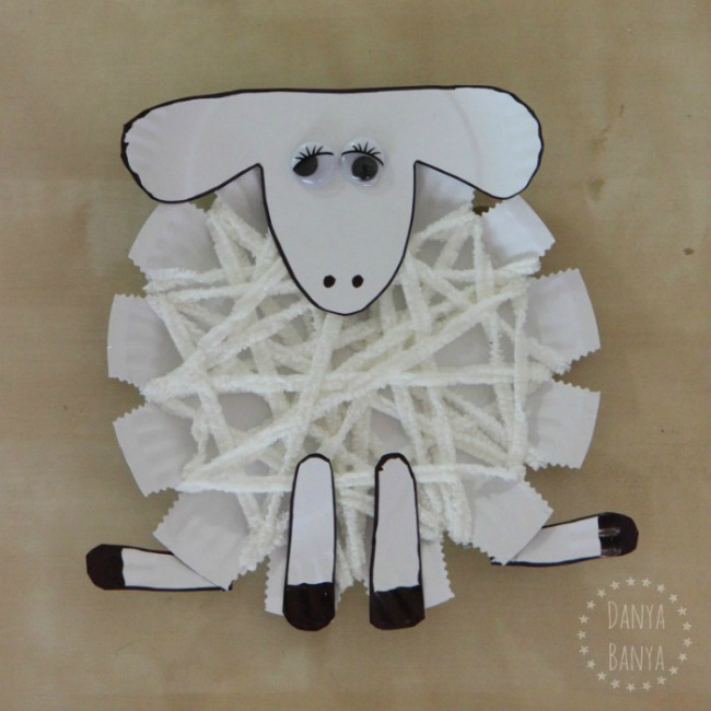 The warmest yarn crafts for kids how wee learn for Cardboard sheep template
