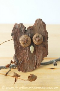 Nature crafts for kids - bark owls