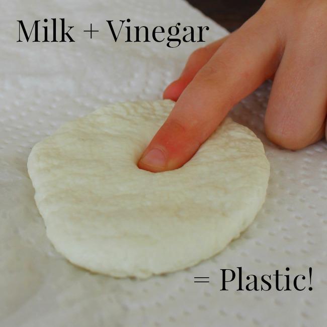 Turn milk into plastic with vinegar