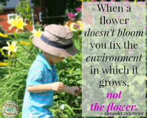 Quote art: When a flower doesn't bllom you fix the environment in which it grows, not the flower. -ADH