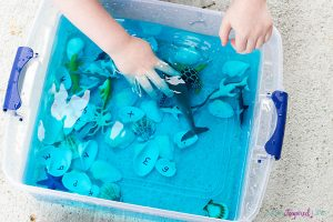Learning the alphabet this summer - alphabet ocean bin