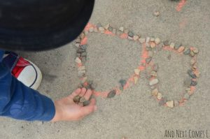 Learning the alphabet this summer - chalk and rocks