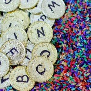 Learning the alphabet this summer - gold coin letter hunt