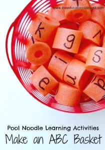 Learning the alphabet this summer - pool noodle letters