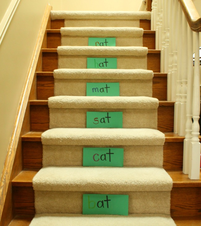 Teach kids to read, practice sight words, and learn word families by using the stairs!