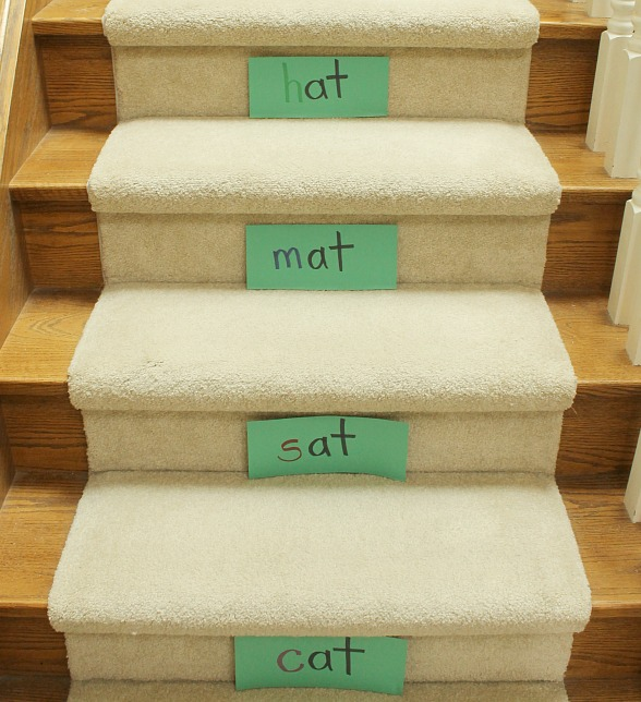 Teach kids to read, practice sight words and word families by using the stairs!