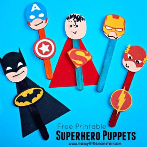 Making puppets - super hero stick puppets