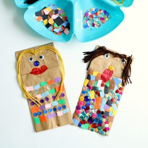 Making puppets with paper bags