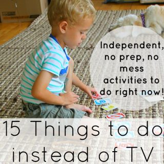 No prep, no mess, independent activities for kids, even preschoolers, to do instead of watching TV!